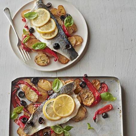 Roast sea bass